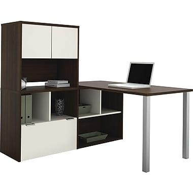 Bestar Contempo L-Shape with Storage Common Configuration, Tuxedo & Sandstone