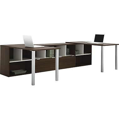 Bestar Contempo 2 L-Shape Desks Common Configuration, Tuxedo Grey