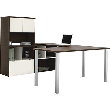 Bestar Contempo U-Shape with Storage Common Configuration, Tuxedo & Sandstone