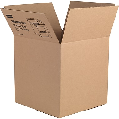 12in.(L) x 12in.(W) x 12in.(H) - Staples Corrugated Shipping Boxes