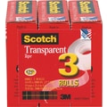 Scotch Transparent Tape 600, 3/4in.x 27 yds, 1in. Core, 3/Pack