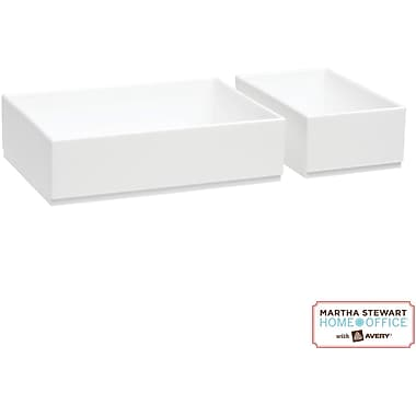 Martha Stewart Home Office with Avery Wall Manager Shelf Boxes, Chalk White
