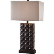 Kenroy Home Cross Hatch Table Lamp, Bronze Finish with Copper Highlights