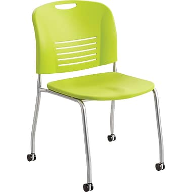 Safco® 4291 Vy Stacking Armless Chair With Caster, Grass Green