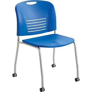Safco® 4291 Vy Stacking Armless Chair With Caster, Lapis
