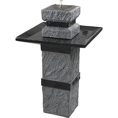 Kenroy Home Monolith Outdoor Solar Fountain, Dark Stone Finish