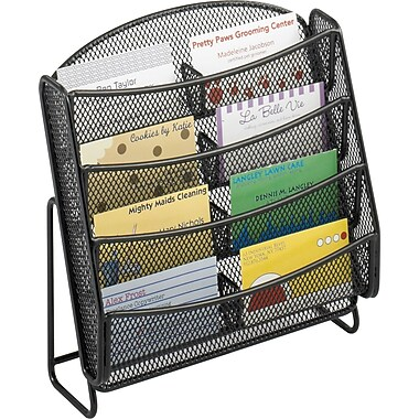 Safco 8-Pocket Steel Mesh Business Card Holder / Literature Rack, Black, 6/Pack