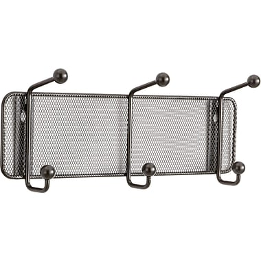 Safco® Onyx™ 6402 Black Mesh Wall Rack, 3 Hook