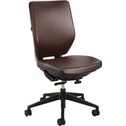 Safco Sol Faux Leather Computer and Desk Office Chair, Armless, Brown (XX7065BR)