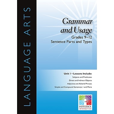 Saddleback Educational Publishing® Grammer and Usage; Sentence Parts and Types, Grades 9-12