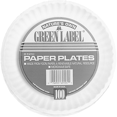 AJM Packaging Corporation® PP6GREWH Paper Plate, 6in.(Dia), White, 100/Carton