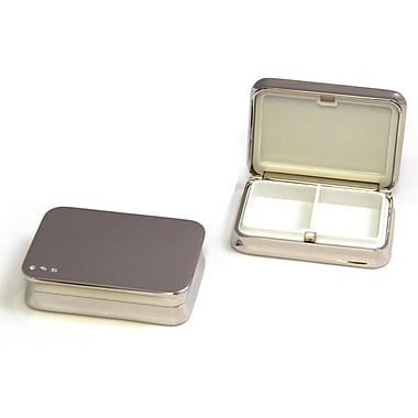 Bey-Berk Rectangular Pill Box With Divider, Nickel Plated