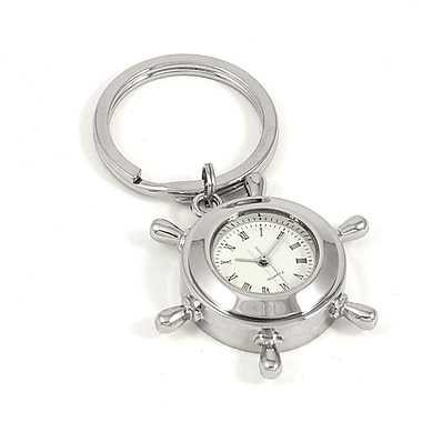 Bey-Berk Key Ring  With Clock and Ships Wheel Design, Nickel Plated