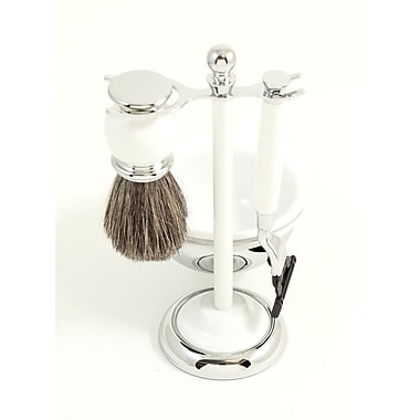 Bey-Berk BB24 Mach 3 Razor and Pure Badger Brush With Chrome Plated White Enamel Finish