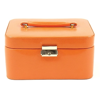 Bey-Berk Leather Lizard  Jewelry Box, Orange