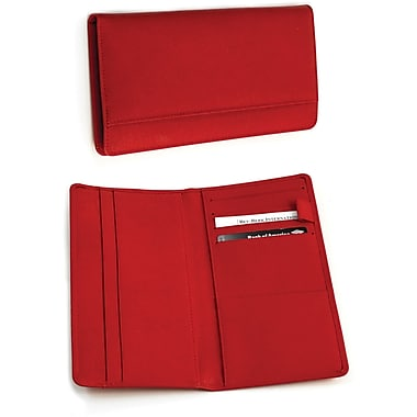 Bey-Berk Leather Multi  Compartment Travel Document Holder, Red