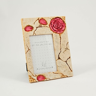 Bey-Berk Resin Rose  Picture Frame With Easel Back, 4in. x 6in.
