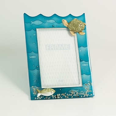 Bey-Berk Resin Fish  and Turtle Picture Frame With Easel Back, 4in. x 6in.