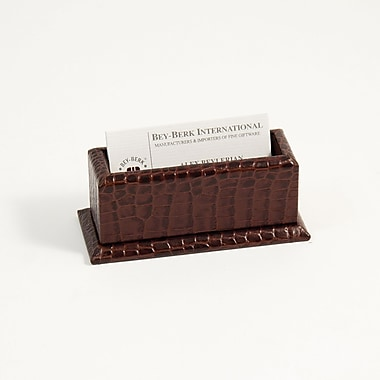 Bey-Berk Croco Leather  Business Card Holder, Brown