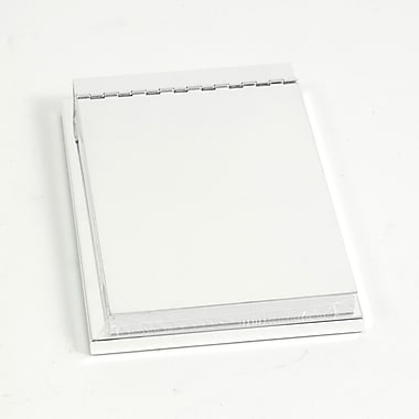 Bey-Berk 4in. x  6in. Silver Plated Memo Pad Holder With Hinged Cover