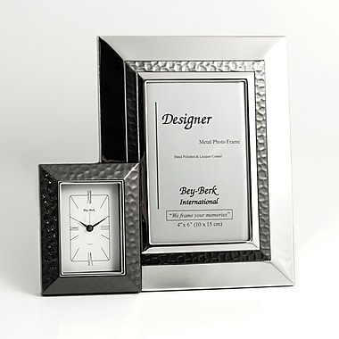 Bey-Berk Picture Frame  and Clock With Gun Metal Accent, 6in.(H) x 4in.(W)