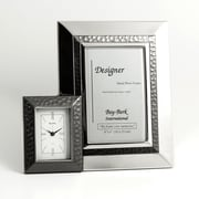 Bey-Berk Picture Frame  and Clock With Gun Metal Accent, 6(H) x 4(W)