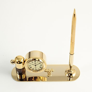 Bey-Berk Gold Plated  and Tortoise Pen Stand With Pen and Clock, Medical