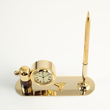 Bey-Berk Gold Plated  and Tortoise Pen Stand With Pen and Clock, Nursing