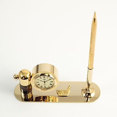 Bey-Berk Gold Plated  and Tortoise Pen Stand With Pen and Clock, Pharmacy
