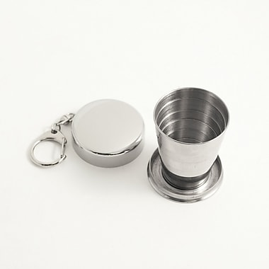Bey-Berk Stainless Steel Collapsible Cup With Key Ring, 2 oz.