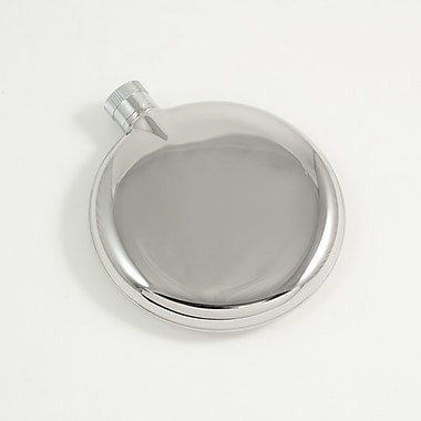 Bey-Berk Round Stainless Steel Mirror Finish Flask, 3 oz.
