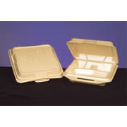 Genpak® 20310-13 Hinged Dinner Container, Wheat, 3(H) x 9 1/4(W) x 9 1/4(D)