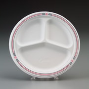 Chinet® Classic White™ POMP Dinnerware Plate, 3 Compartments, Molded Fiber, 500/Carton