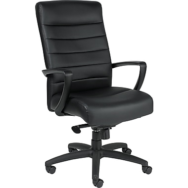 Eurotech Seating LE150-BLKL Manchester Leather High-Back Executive Chair with Fixed Arms, Black