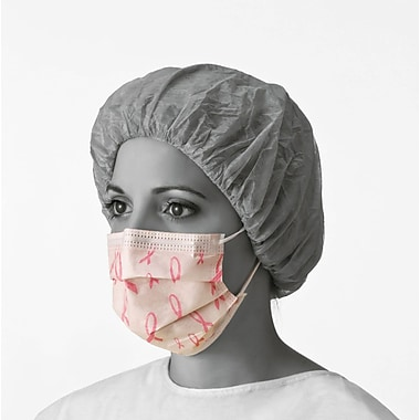 Medline Pink Ribbon Procedure Face Masks, Breast Cancer Logo, 300/Pack
