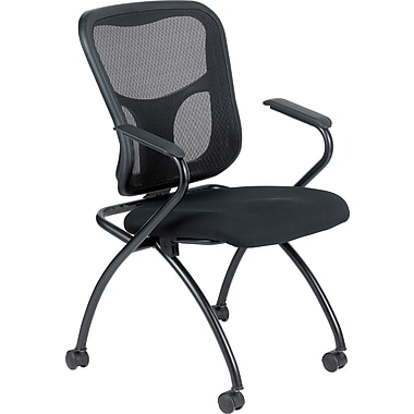 Raynor Eurotech Fabric Seat Flip Nesting Chair with Arm, Black, 2/pack