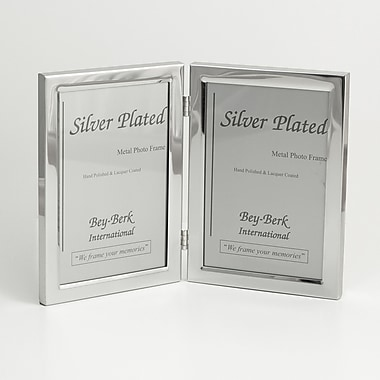 Bey-Berk SF84-11D Silver Plated Double Picture Frame, 5in. x 7in.