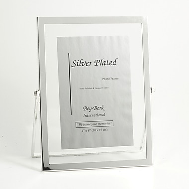 Bey-Berk Silver Plated  Floating Picture Frame, 4in. x 6in.
