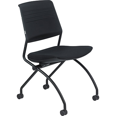 Raynor Eurotech Poly/Fabric Switch Folding/Nesting Chair with Arm, Black