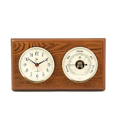 Bey-Berk Brass and Oak Quartz Clock/Barometer/Thermometer