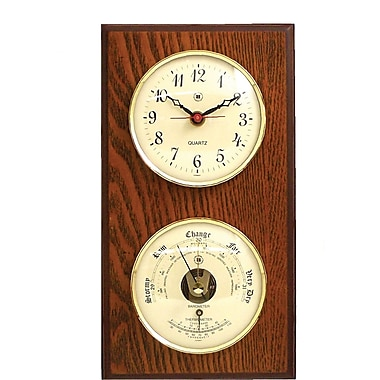 Bey-Berk WS113 Brass and Oak Quartz Clock/Barometer/Thermometer