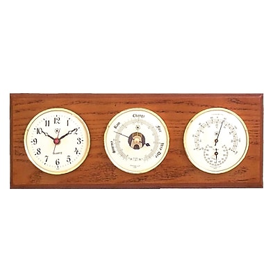 Bey-Berk Brass and  Oak Quartz Clock/Barometer/Thermometer/Hygrometer