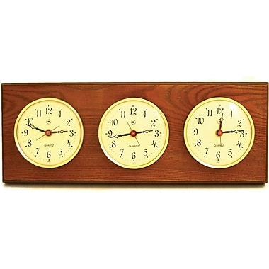 Bey-Berk Brass and  Oak Multi-Zone Clock With 3 Brass and Oak Plates