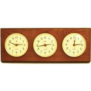 Bey-Berk Oak and Oak Multi-Zone Clock With 3 Brass Plates