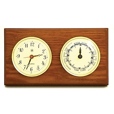 Bey-Berk Brass/Oak Time  and Tide Clock