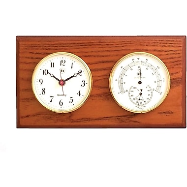Bey-Berk Brass and  Oak Clock/Thermometer/Hygrometer