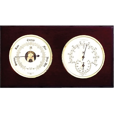 Bey-Berk Brass and Mahogany Wood Barometer/Thermometer/Hygrometer
