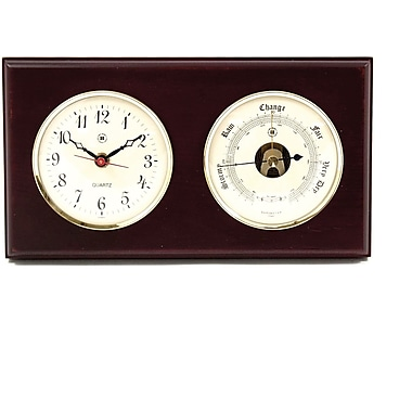 Bey-Berk Brass and  Mahogany Wood Quartz Clock/Barometer