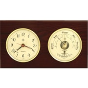 Bey-Berk Brass and  Mahogany Wood Quartz Clock/Barometer/Thermometer