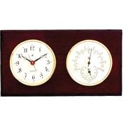 Bey-Berk Brass and  Mahogany Wood Quartz Clock/Thermometer/Hygrometer